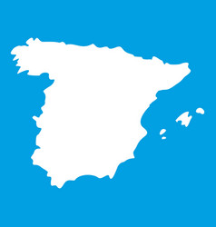 Map of spain icon white vector