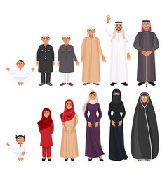 Men and women traditioanal arabic clothes for all vector