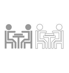men playing at the table icon grey set vector image