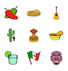 mexican tradition icons set cartoon style vector image