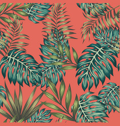 multicolored tropical leaves seamless living vector image