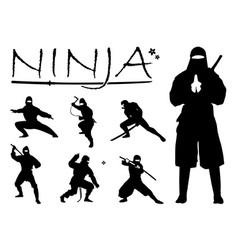 ninja silhouette set vector image
