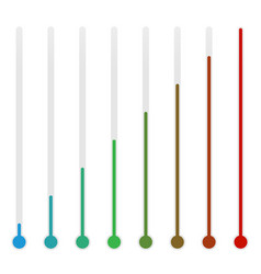 Oblong thermometers on white with rising level vector