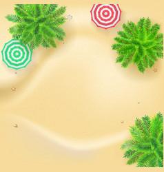 Palm trees sun umbrellas on seashore 3d vector