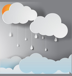 paper art of rainy season vector image