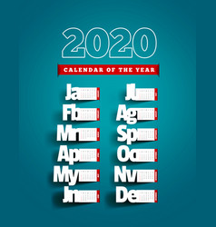 paper cut calendar with shadow yearly 2020 vector image