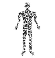 paw footprint man figure vector image