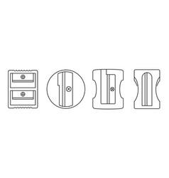 plastic sharpener icon set outline style vector image