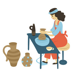 Pottery hobby woman with jars made with clay vector