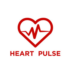 Red heart pulse logo template vector