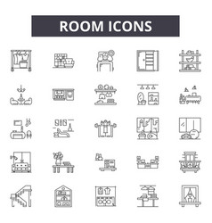room line icons signs set outline vector image