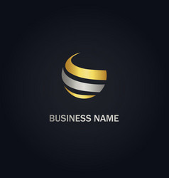 round sphere curve company gold logo vector image