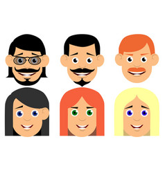 set of avatars flat icons characters for web vector image