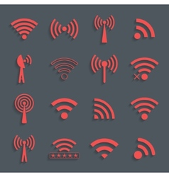 set of different red wifi icons for communication vector image