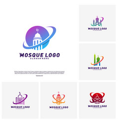 set of mosque logo design concept templateplanet vector image