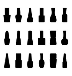 Set of silhouettes of nail polish bottles vector