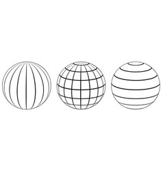 set spheres globe earth grid latitude longitude vector image