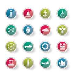 Simple marine sailing and sea icons vector