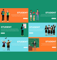 Student everyday life process colourful web banner vector