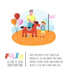 summer fun fair poster banner amusement park vector image