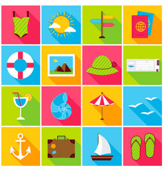 summer travel colorful icons vector image