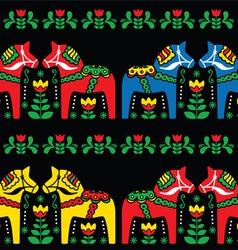 Swedish Dala horse folk seamless pattern on black vector