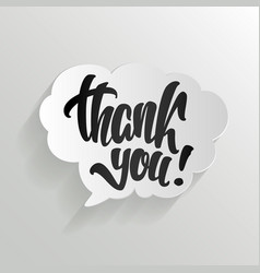 thank you calligraphy hand lettering on cloud vector image