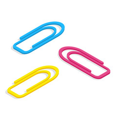 three metal paper clips different colors vector image