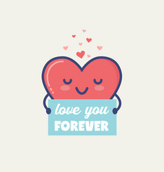 valentines day gift tag or card with cute vector image