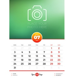 Wall Calendar Template for 2017 Year July Design vector image