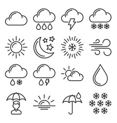 weather icons set on white background vector image