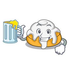 With juice cinnamon roll mascot cartoon vector