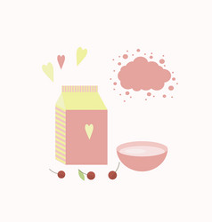 With yoghurt and berries vector