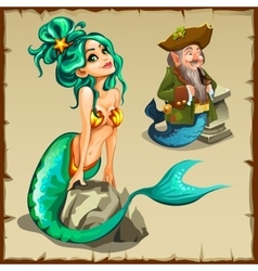Beautiful mermaid and a leprechaun with a tail vector image