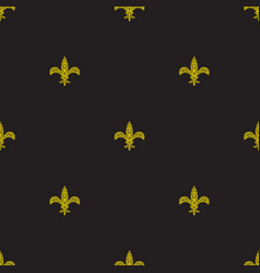 fleur de lys black and yellow simple seamless vector image