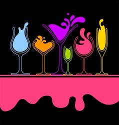 silhouette of splash wine glass vector image vector image