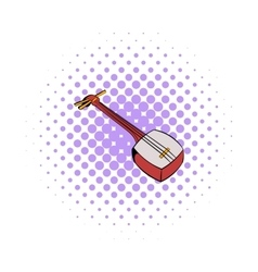 Traditional Japanese shamisen icon comics style vector image vector image