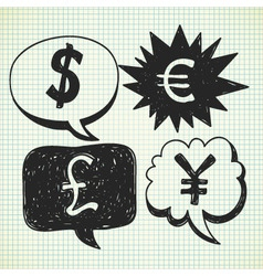 currency symbol doodles vector image vector image