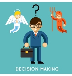 Decision making Businessman with angel and demon vector image