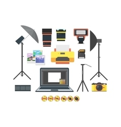 Professional Photographer Equipment Set vector image