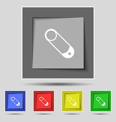 Pushpin icon sign on original five colored buttons vector image vector image