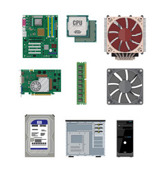 Assembling pc personal computer hardware vector