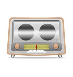 cartoon wooden retro radio vector image vector image