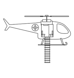 Contour silhouette with rescue helicopter vector