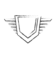 hexagon shield protection badge winged sketch vector image