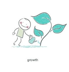 Man watering a plant vector image