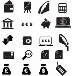 money icons silhouette vector image vector image