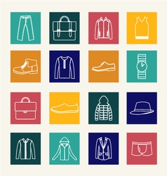 Set of flat man clothing icons vector image