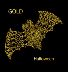 trick or treat scary bat with lettering on dotted vector image