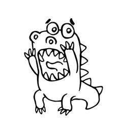 cartoon screaming dragon vector image vector image